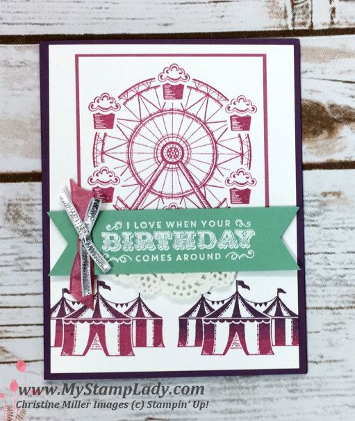 Stampin' Up! Carousel Birthday handmade card. Find Supplies at www.shopwithmystamplady.com