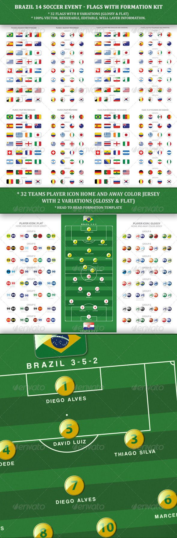 Brazil14 Soccer Event  Flags with Formation Kit — AI Illustrator #flag #formation kit • Available here → https://graphicriver.net/item/brazil14-soccer-event-flags-with-formation-kit/6507706?ref=pxcr