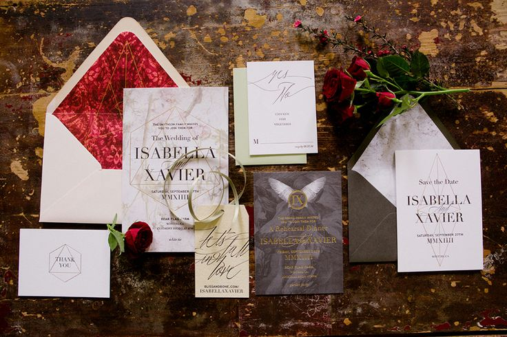 Romeo And Juliet Wedding Invitations: Gold Foil & Letterpress Wedding Invitations / Capulet
