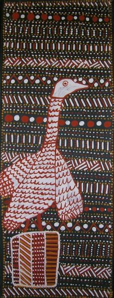 Patterns 93 colors) animal with patterns cut out and placed over background: BIRD POLE by Susan Wanji Wanji