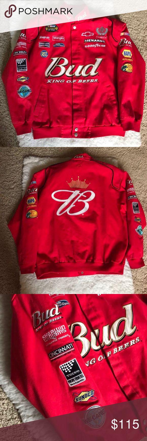 Chase Authentics Bud NASCAR Jacket Chase Authentics Bud NASCAR Jacket Size Large Color: Red Bud King of Beers Chase Jackets & Coats Bomber & Varsity