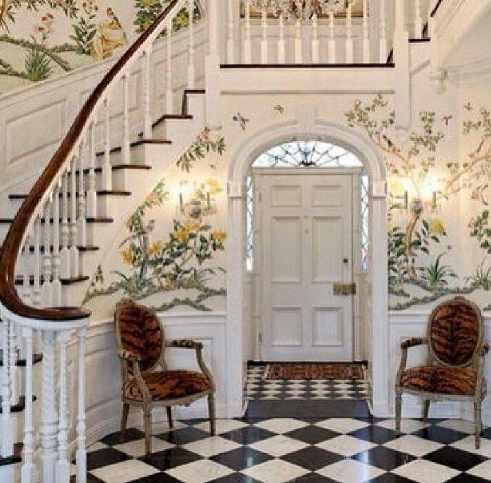 Vintage Foyer Wallpaper : Best s homes images on pinterest drawing room