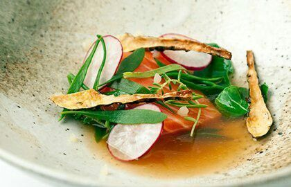 40°C Sous-Vide Salmon with Potato Juice, Jerusalem Artichoke and Sea Vegetables - Sous-Vide Tools