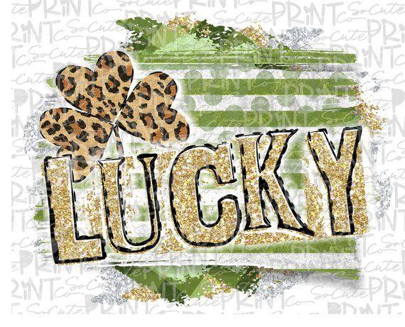 Leopard Clover Digital Printable St LUCKY Leopard Shamrock PNG St Pattys Day Digital Download Sublimation File Patricks Clipart
