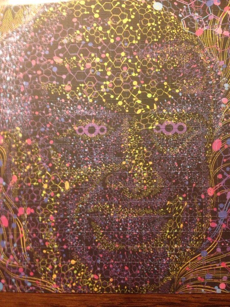 7 DAY SALE Albert Hofman 2-Sided Blotter Art.LSD formula Face Lsd Acid art