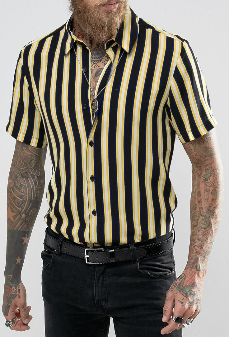 7e1bf08e0694 Reclaimed Vintage Inspired Stripe Shirt In Reg Fit from ASOS (men, style,  fashion, clothing, shopping, recommendations, stylish, menswear, male,  streetstyle ...