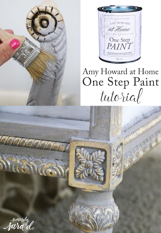 Great DIY tutorial for using Amy Howard's One Step (chalk) paint.  Also includes a tutorial for gilding furniture.