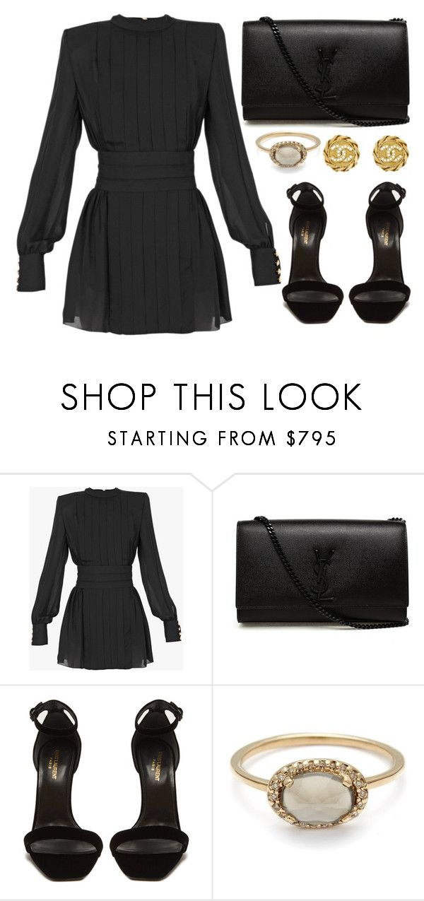 """""""Untitled #5717"""" by tatyanaoliveiratatiana ❤ liked on Polyvore featuring Balmain, Yves Saint Laurent and Chanel"""