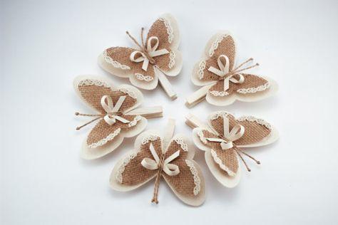 Ensemble de 5 pces épingle avec des ailes de papillon, ailes de papillon de toile de jute, Cottage blanc mariage Chic décor, décoration rustique, ornements de la toile de jute