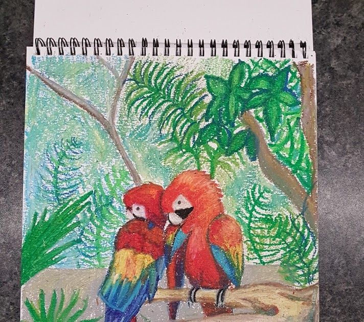 New sketchbook is always a good start to try something new, or good old forgotten crayons!  So going back to my childhood memories and inspired by holidays in Mexico i have created 2 drawings.