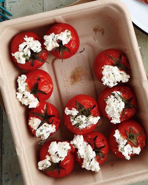 Stuffed Tomatoes: Recipe, Food, Cherry Tomatoes, Tomatoes Stuffed, Healthy Snack, Stuffed Tomatoes, Cheese Stuffed, Goat Cheese
