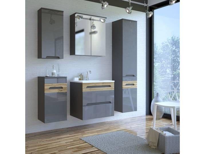 Badmobel Set 2 5 Teilig Mit Keramik Waschbecken 60 Cm Lajas 56 Hoch Mirror Home Decor Bathroom