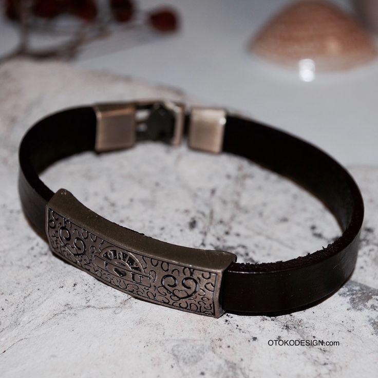 Купить Красивый браслет из натуральной кожи на металлической застежке I LOVE YOU в интернет магазине бижутерии, аксессуаров и мужской одежды - Otokodesign.com