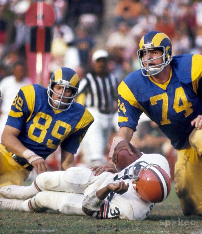 #1 Merlin Olsen (74)  #27 Fred Dryer (89), Los Angeles Rams