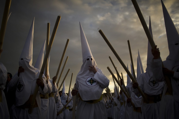 "Procession of ""San Gonzalo"" brotherhood in Seville, Spain for the Easter Holy Week. Photography by Emilio Morenatti."