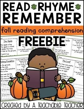 Reading Comprehension FREEReading Comprehension - Fall is a great way to practice reading comprehension.  Why?  Students will be reading POEMS!  Read, Rhyme, Remember is a fun, {quick}, and engaging way to integrate seasonal learning and reading comprehension.On each page, students will: read the poem three times, find and circle rhyming words, draw a picture (visualize) and answer the comprehension questions.