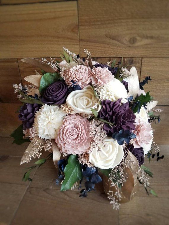 and Gray Sola Flower Bouquet  Country Roads Wood Flower Bouquet Mauve Cream Keepsake Wood Flower Wedding Bouquet Gift for her