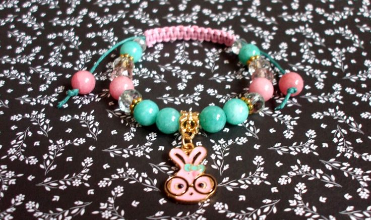 Candy floss gemstone bracelet Clever bunny jewel Amazonite and rhodochrosite bracelet Shamballa bracelet Gift for her Gift for girl by dorijewelnook on Etsy