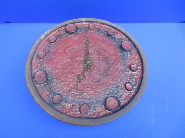 Krösselbach Keramik Uhr Wanduhr Studiokeramik Fat Lava rot braun 22 cm
