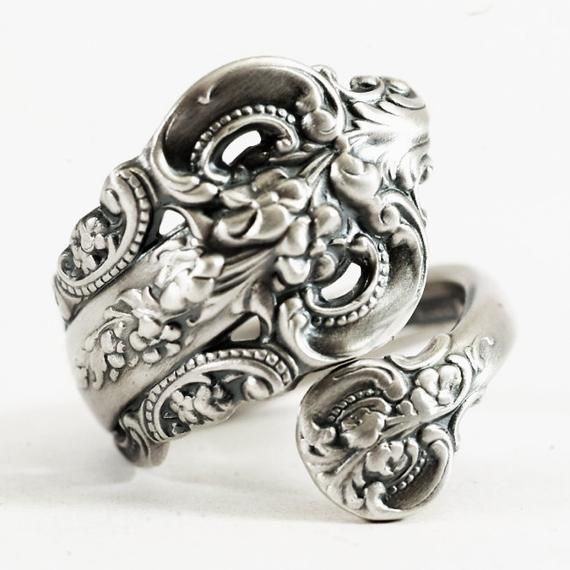 eaa5a766cfd13 Vintage Spoon Ring, Grande Baroque, Sterling Silver Spoon Ring ...