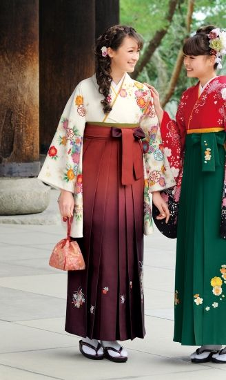 This is a hakama. Hakama is a divided or pleated skirt worn over a Kimono.  A Japanese girl student wore a hakama approximately 100 years ago.  Today, the girl student puts hakama on only in graduation party.