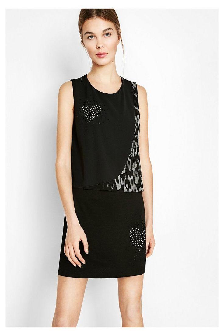 Zwarte mouwloze jurk met studs Meg | Desigual.com 2000