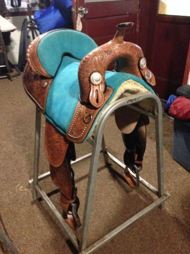 Hilason Treeless Western Barrel Racing Trail Saddle 14' Light Blue | eBay
