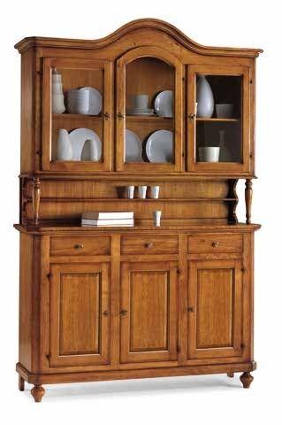 Έπιπλα Σπιτιού - Κρυσταλιέρα Ξύλινη με 3 πόρτες και καμάρα Classical Collection