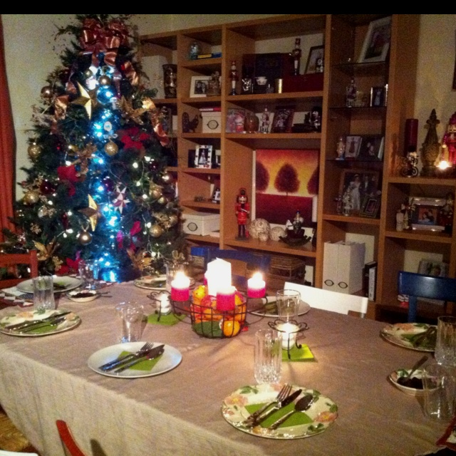 The table is set for our dinner guests.