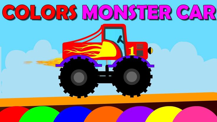 The Colours Monster Red truck Machines Collection n Cartoons Teach Toddl...