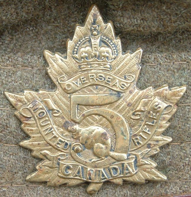 Cap badge of the 5th Battalion, Canadian Mounted Rifles, were a mounted infantry unit of the Canadian Expeditionary Force (CEF) during World War I. The unit was raised from volunteers of the 7th and XIth (Canadian) Hussars from the Eastern Townships of Quebec. Formed in 1915, they were transported to England later that year. In 1916, they converted to an infantry battalion attached to the 8th Canadian Infantry Brigade, 3rd Canadian Division
