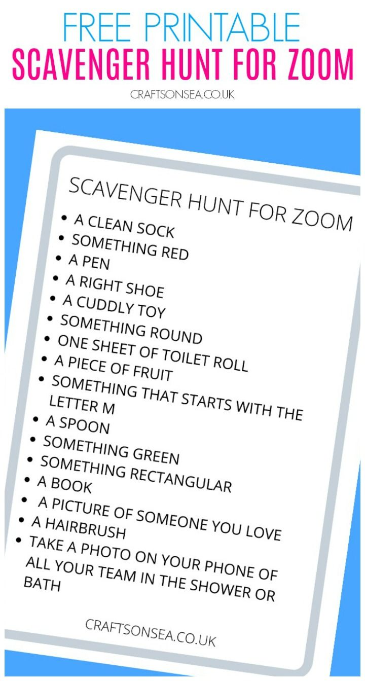 Scavenger Hunt For Zoom Free Printable For Kids In 2020 Scavenger Hunt Activities For Teens Girl Scout Meeting Ideas
