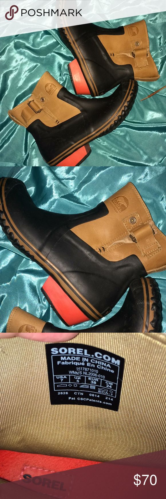 Sorel rain boots Very rare ,and adorable Leather and rubber rain boots by sorel , keep you dry and fashionable, the lining  bed is so soft and comfy ,size 7fit size 7.5 Sorel Shoes Winter & Rain Boots