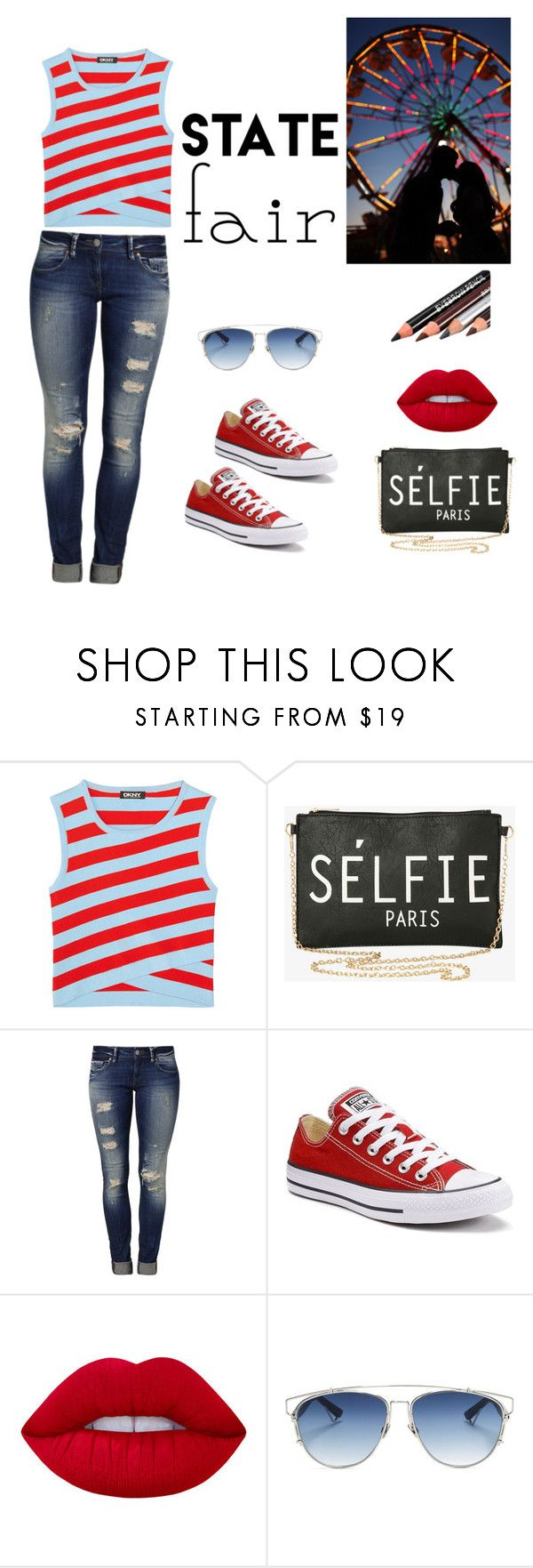 """""""My First Polyvore Outfit"""" by just-hanging ❤ liked on Polyvore featuring DKNY, Torrid, Mavi, Converse, Lime Crime and Christian Dior"""