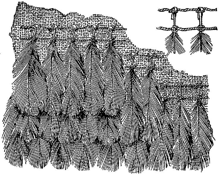 Peruvian feather embroidery technique