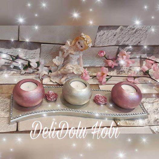 Ev hediyesi olarak hazirladigim 3 lu tealight mumluk  Evine ozen gösterenlere özel şık bir tasarim #kokulutas #kokulutastasarim #mumluk #evdekorasyonu #home #homedecor #decoration #gift #hediye #romantik #romantic #love #lila #ask #kokosh #kokoş #sunum #delidolu #izmit #kar #ask #instagood #guzelevim #tealight #sunum #yenigelin #yenigelinevi