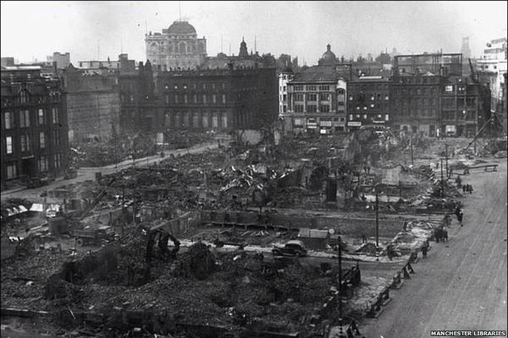 Piccadilly gardens Manchester . Bombed 1940's
