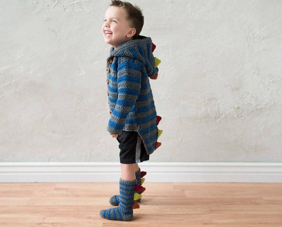Crochet Pattern for Dino Hoodie and Crochet Socks – Dino Crochet Pattern – Dino Hoodie and Socks PAT