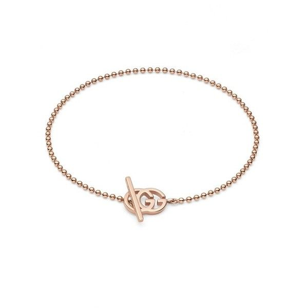 Women's Gucci Double-G Line Bracelet (611,485 KRW) ❤ liked on Polyvore featuring jewelry, bracelets, rose gold, charm bangle, gucci jewelry, pink gold jewelry, 18k rose gold jewelry and rose gold bangle