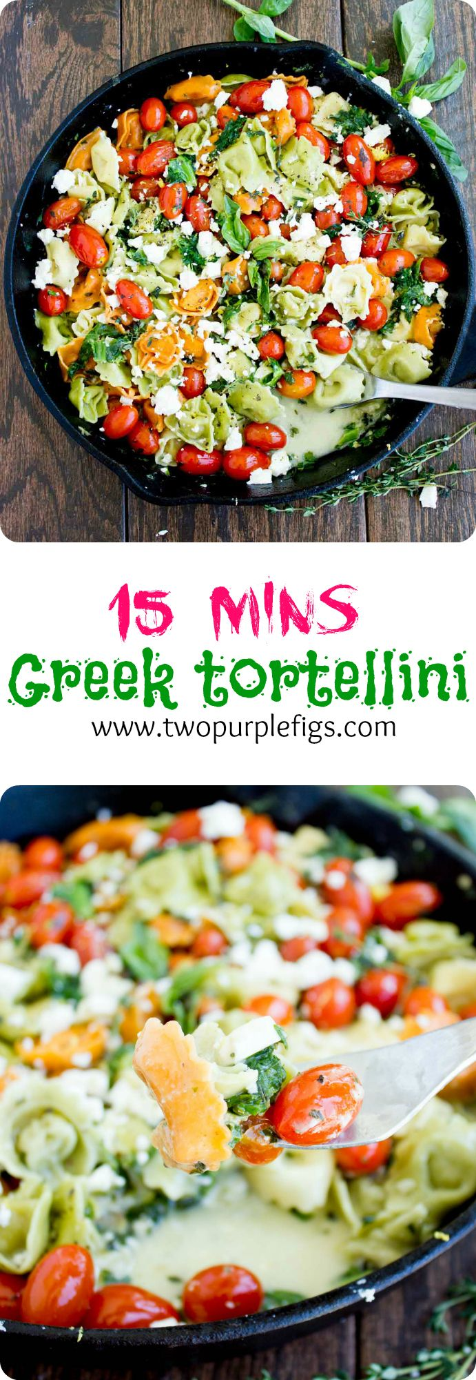 10 Minute Greek Cheese Tortellini recipe is a perfect LAST MINUTE zesty pasta that screams comfort. Delicious, simple and fresh--We LOVE Greek! www.twopurplefigs.com