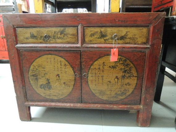 Antique chinese storage cabinet console or media piece in for Asian console cabinet