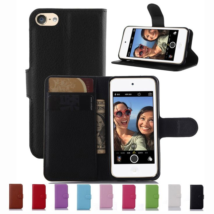Новый Роскошный Оригинал PU Кожаный Чехол Для iPod Touch 6 6-го поколения и 5 5-го поколения Флип Задняя Крышка С Карты Держатель Stander