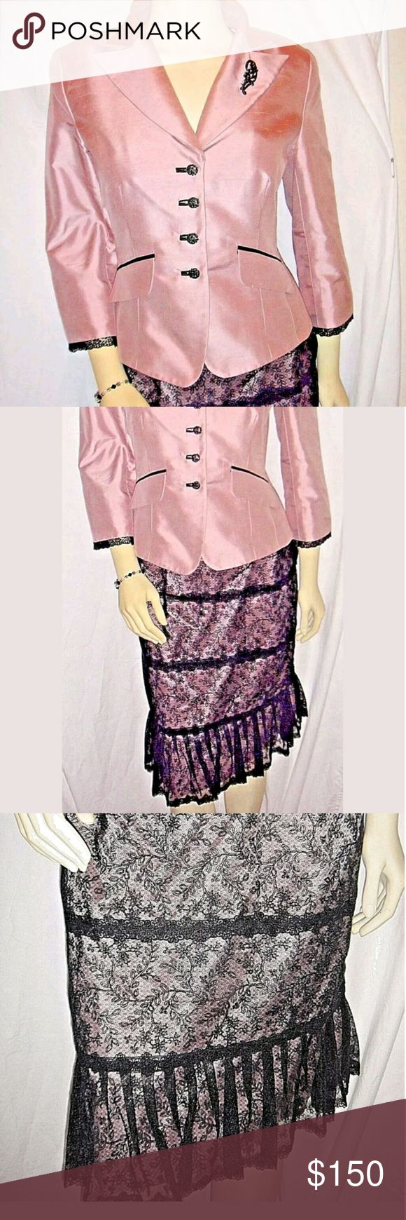 Kay Unger suit from Saks size 6 Kay Unger New York  PRETTY IN PINK!!!!!!!!!  Brand New And Authentic Silk Tafetta Suit    This is a glamorous Kay Unger New York suit. The silk and lace combo is luxurious and so visually appealing. A pretty peplum waistpulls it all together.  Kay Unger Other