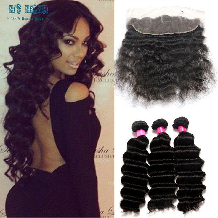 Rosa tóc sản phẩm 13x4 ren frontal closure với 3 giao bó sóng tóc sâu lima peru tóc lace front human dệt sâu tóc giả