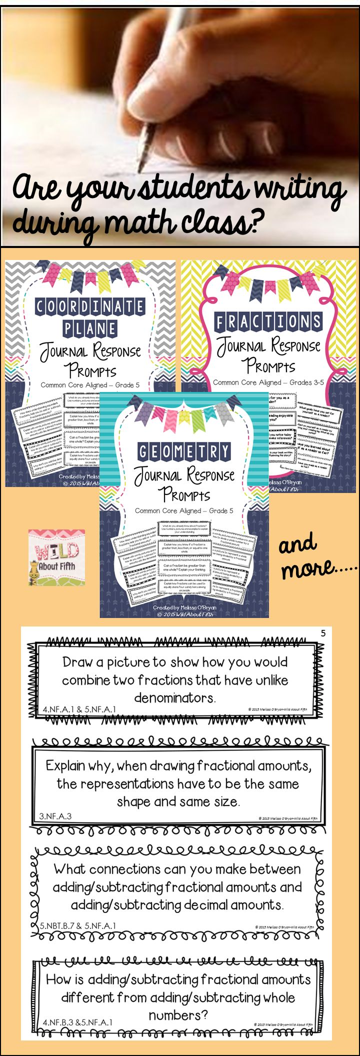 Are your students writing during math class? Journal response prompts are the IDEAL way to bring closure to your math lessons; quickly check for understanding; and keep your students accountable for articulating their understanding of math concepts. Common Core aligned and a MUST HAVE for any best practice math classroom! $ #wildaboutfifthgrade