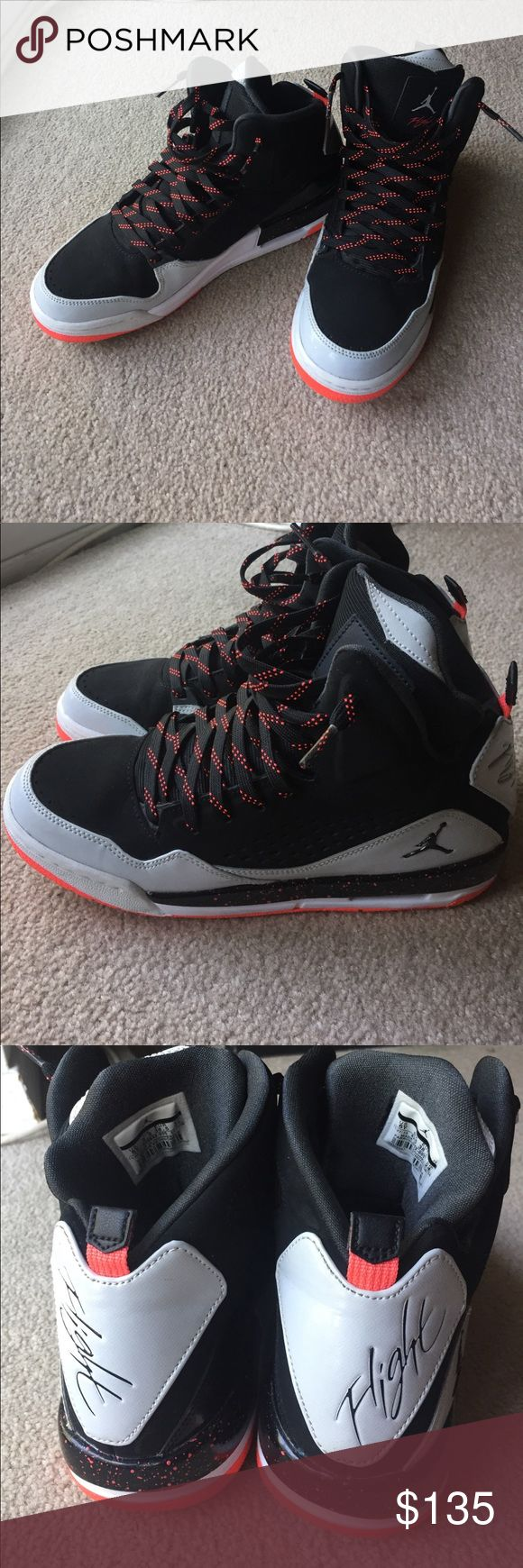🔥VERY RARE🔥 Jordan's Retro Flights Very rare high top Jordans. Tag says 6Y but I wear a women's 6.5 US and they fit perfectly. Bought them a few years back and have only worn them once or twice. There's a tiny almost unnoticeable smudge on the right shoe (picture shown) besides that they are prestine and in almost perfect condition. Jordan Shoes Sneakers