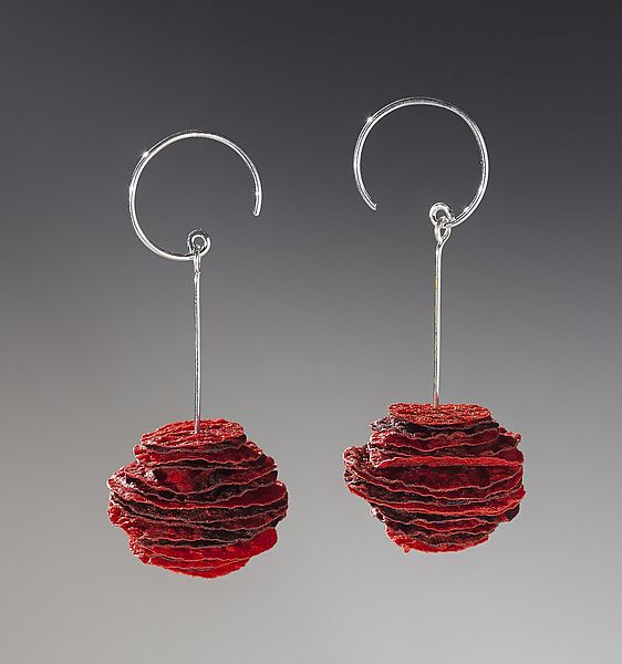 Joomchi+Red+Stack+Earrings by Nancy+Raasch: Silver+&+Paper+Earrings available at www.artfulhome.com