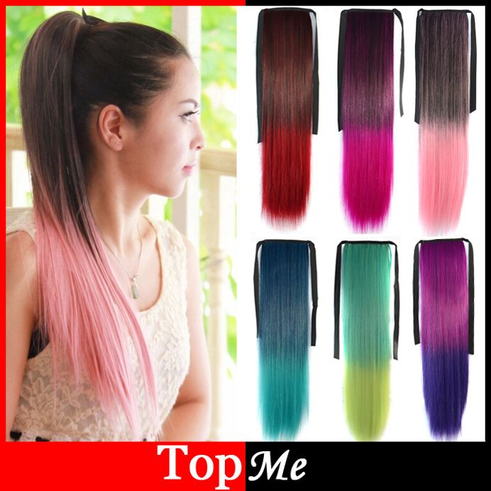 Women Ponytails Hair Extensions Colorful Europe America Synthetic Ponytail 55cm Long Straight Lady Girls New Pony Tail Hairpiece