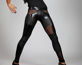 Black Patchwork Leggings, Leather-Look Spandex & Sheer Mesh, Heavy Metal Pants, Goth Stage Wear, Glam Rock Clothing, Meggings, by LENA QUIST