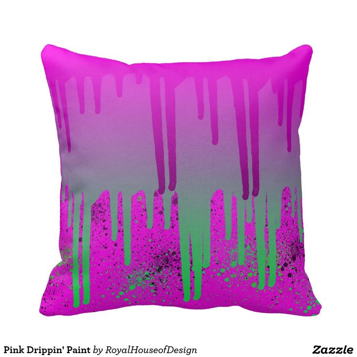 Pink Drippin' Paint Throw Pillows
